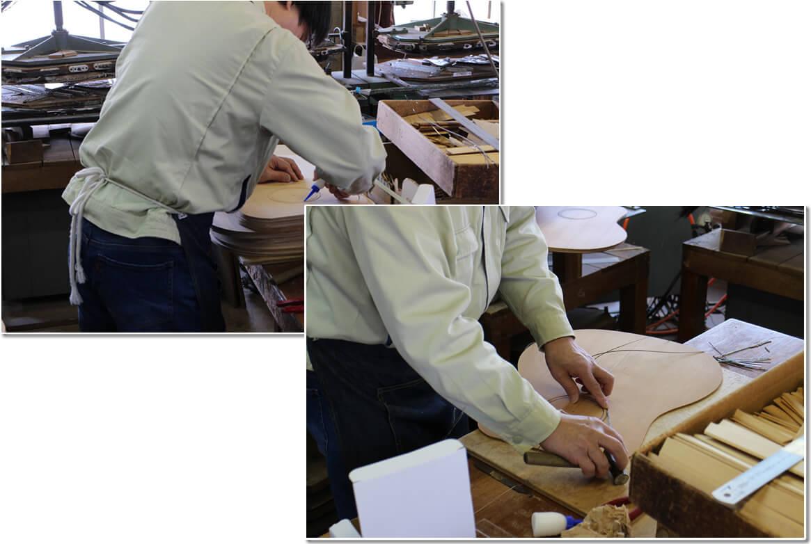 口輪(ロゼッタ)の埋め込みと力木(ブレーシング)の貼り付け